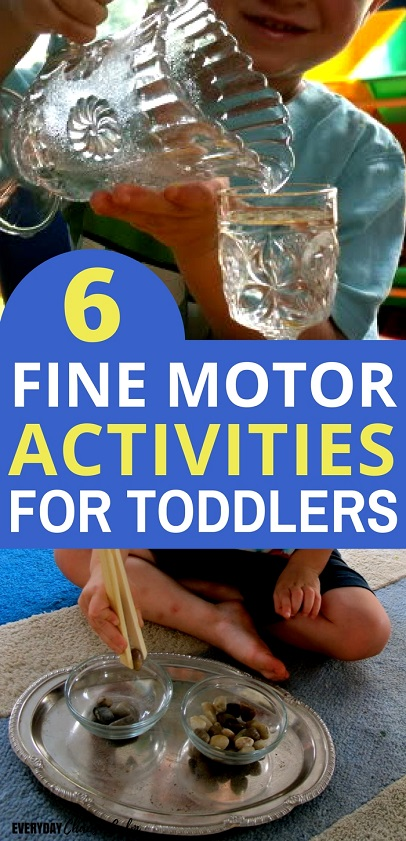 Fine Motor Activites: Help your child develop their small muscles with the 6 basic fine motor activities for toddlers. Each fine motor activity has many variations to keep toddlers engaged and interested!