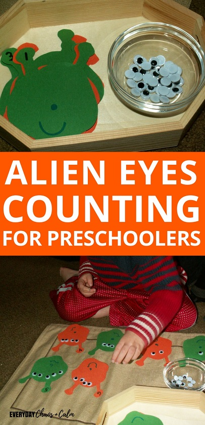 Counting Activities for Preschoolers: Teach your preschooler counting with one to one correspondence with this alien eyes counting activity! What's more fun that creating an alien with 10 eyes!