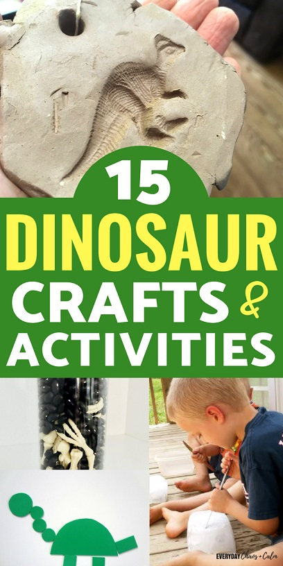 Dinosaur Crafts for Kids: It seems all kids go through a phase where they love dinosaurs. Here are 15 dinosaur crafts or activities to indulge your dino-loving preschooler for days and days!