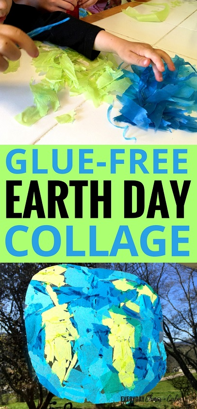 Earth Day Crafts: Help your kids learn about the Earth and Earth Day with this simple Earth Day Collage. It's a great jumping off point for a discussion about our Earth and how to help keep in healthy!