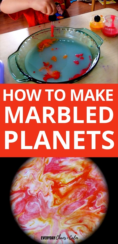 Space Crafts and Activities: Make beautiful swirled planets to help teach your children about space and learn the planets by name with this marbled planet craft!