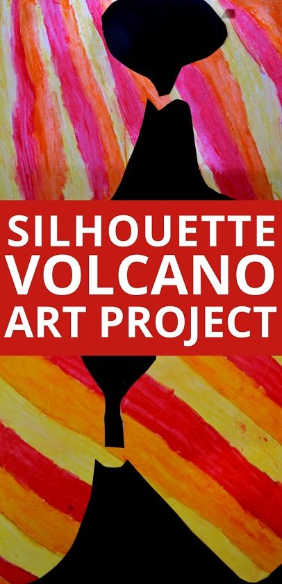 Art Projects for Kids: Create a beautiful volcano craft using oil pastels, baby oil, and a paper volcano silhouette.