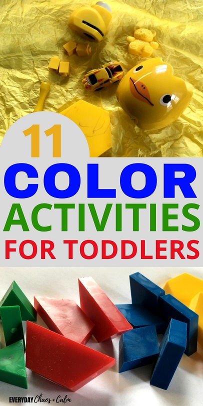 Toddler Activities: The best way for kids to learn the colors is through play! Here are 11 simple and fun color activities for toddlers to help them learn all the colors of the rainbow!