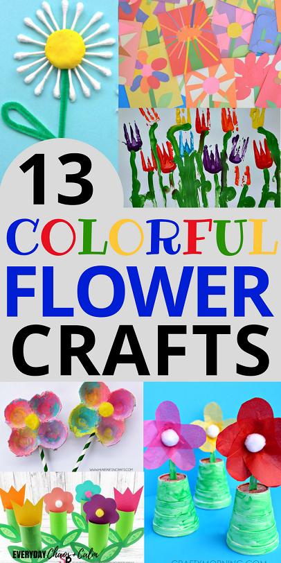 Crafts for Preschoolers: 13 bright colorful flower crafts for preschoolers.