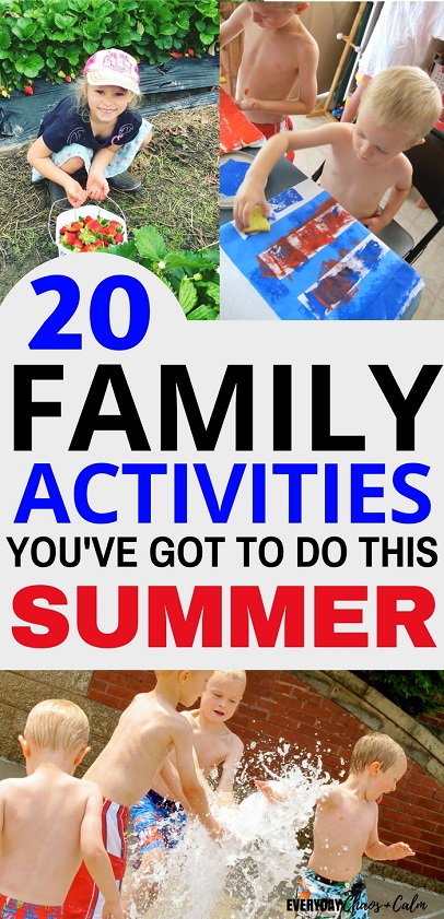 Summer Activities: Make memories for your family this summer with these 20 summer activities for kids! From hiking to s'mores your kids- and you will have a blast this summer!