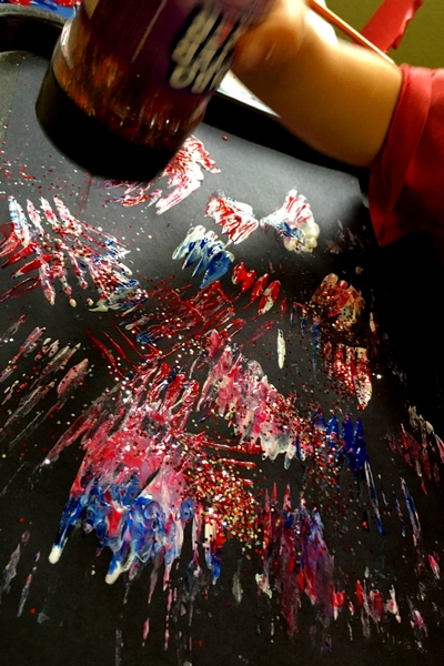 4th Of July Craft For Kids  Glittery Fork Painted Fireworks