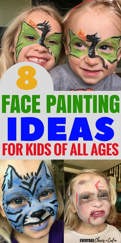 Face Painting Ideas: Do your kids love to have their face painted? Here are 8 easy face painting ideas for kids!