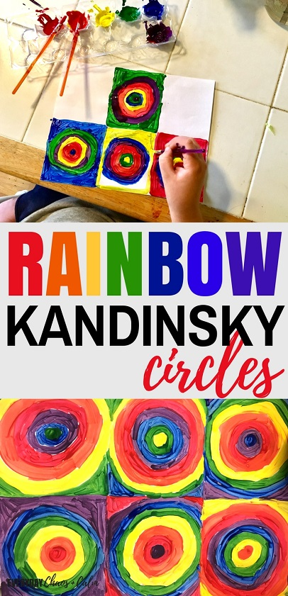 Art projects for kids: Learn about the artist Kandinsky while exploring shapes and the colors of the rainbow with this Rainbow Kandinsky Circles art project for kids.