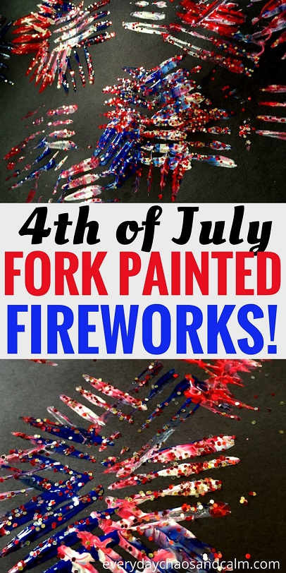 4th of July Craft: Painting fireworks with forks and glitter.