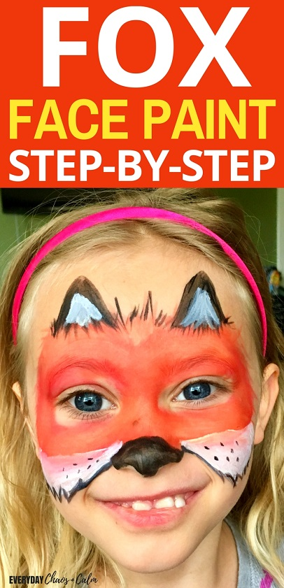 Face Painting Ideas: Learn how to transform your child into a fox with this step by step fox face paint tutorial!