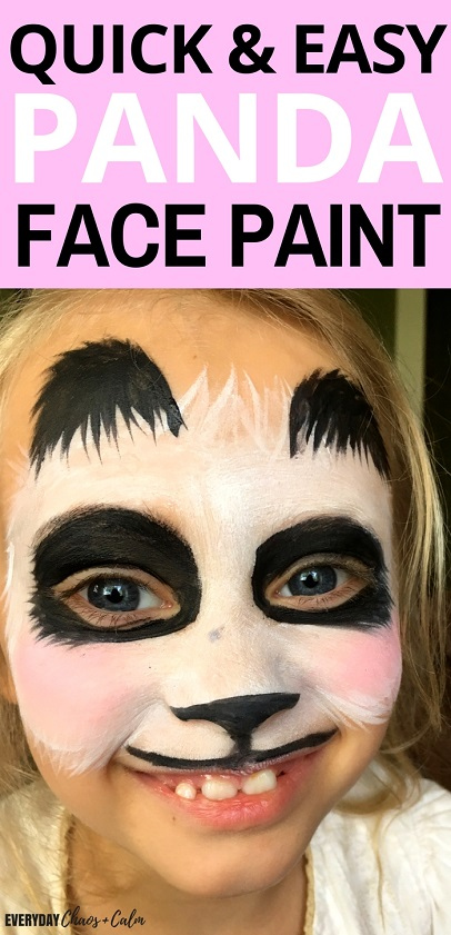 Face Painting Ideas:Face painting is a fun addition to dramatic play in kids! Get a step-by-step Panda Face Paint tutorial that is simple to do and tons of fun!