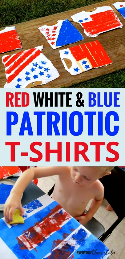 T-shirt decorating is so much fun! This summer celebrate Memorial Day or 4th of July by decorating your own Red, White, and Blue Patriotic shirts with the kids!