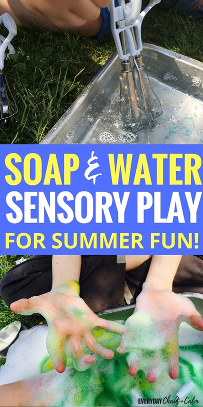 Sensory Activities: Sensory play doesn't have to be expensive. Try this soap and water play activity to give your kids a great sensory activity that keeps them engaged and cool on hot summer day!