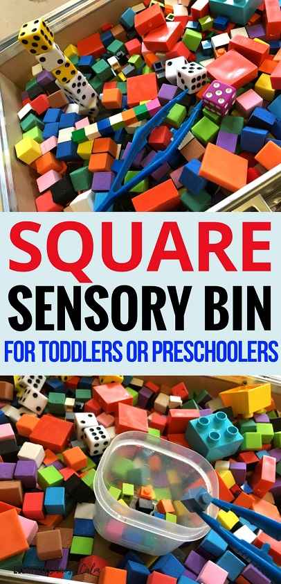 Sensory Activities: Sensory play is a great way to introduce your preschooler to all sorts of concepts. Try making this square sensory bin to help you child learn and explore everything about the square shape!