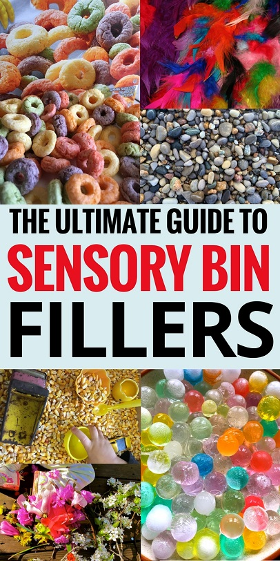 Sensory Activities: Sensory bins are so much fun for kids to play in, but what to you put IN them? Here's a list of some of the BEST sensory bin fillers for your sensory play.