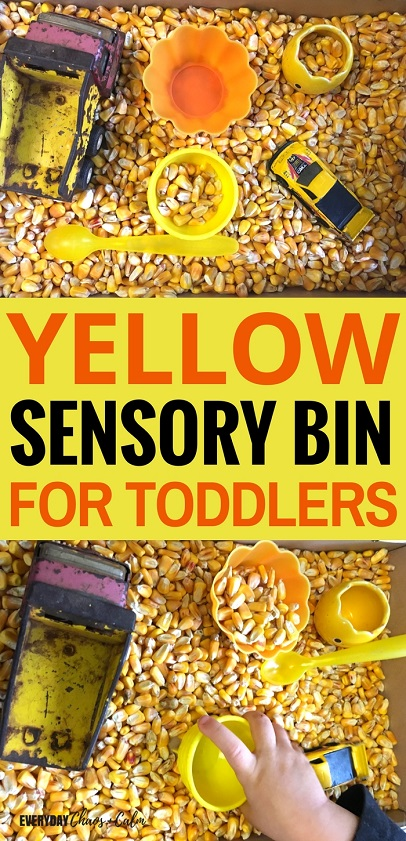 Sensory bins are great for teaching toddlers, try making this yellow sensory bin to help your toddler recognize and learn about the color yellow!
