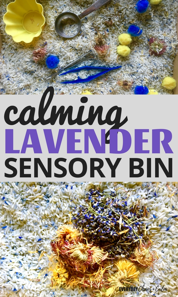 Sensory Bins: Sensory play affects all the senses and this calming lavender sensory bin is just the thing for an over tired toddler or sick and cranky kid! Featuring herbs and oils that help to calm and center the soul!