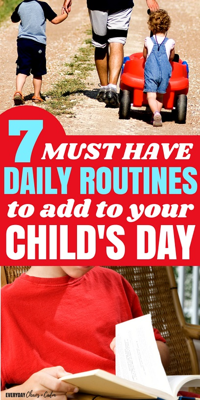 Parenting Tips: Kids thrive on schedules and predictability of daily routines also help children feel safe. What types of things should you schedule into your child's day? Here are 7 daily routines that will enhance your child's day.