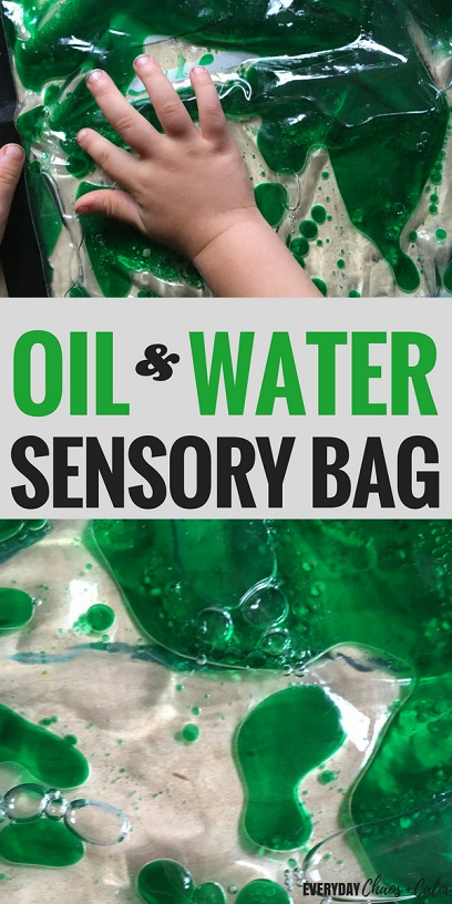 Oil and Water Sensory bag for science play and learning