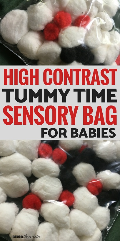 Activities for babies: Make a high contrast tummy time sensory bag for babies