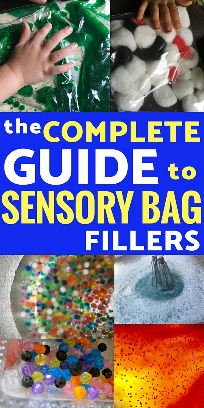 Sensory play doesn't have to be messy! Here's the ultimate list of sensory bag fillers for mess-free fun!