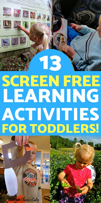 Take a front seat in your child's learning with these 13 screen-free learning activities to do with your toddler or preschooler to help them learn all the skills they need!