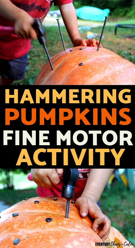 Fine Motor: Help your toddler build fine motor skills with this fun fall activity! All you need is a pumpkin, hammer, and some nails!