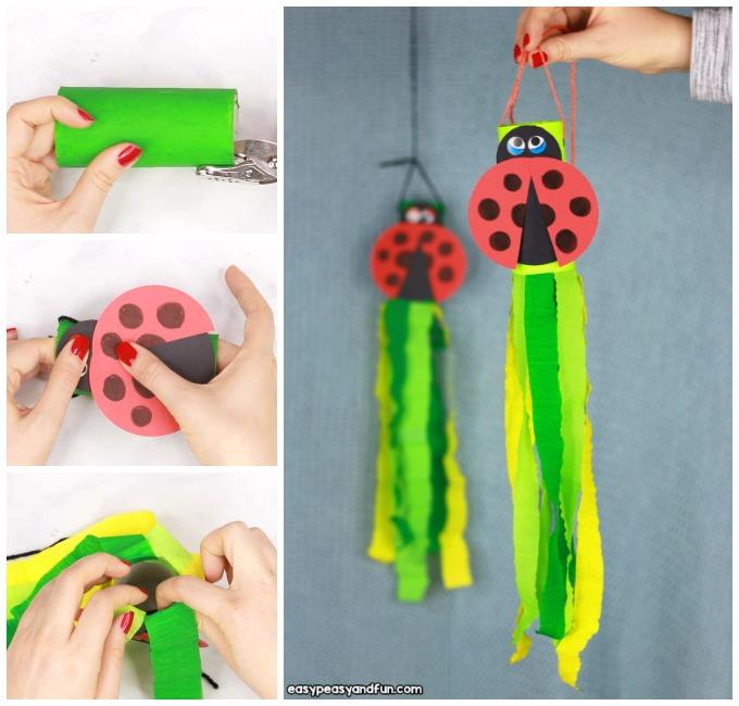 Ladybug Windsock Toilet Paper Roll Craft