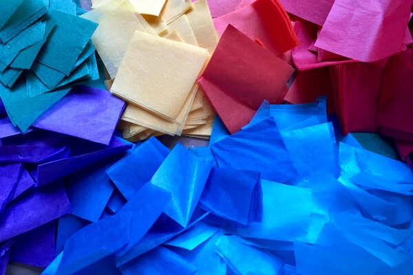 rainbow colored tissue paper pieces