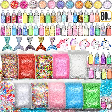 Mermaid and Unicorn Slime Add Ins Kit (80 pieces)