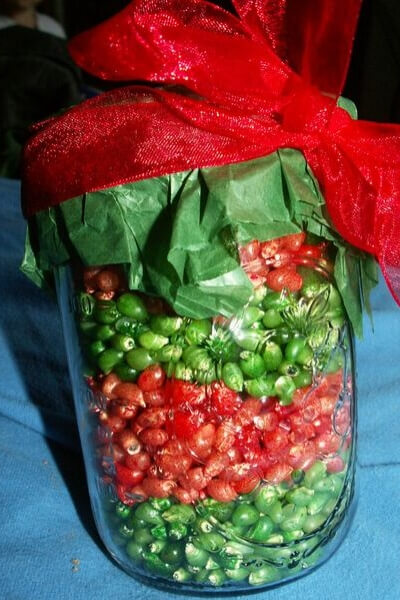 red and green dyed popcorn