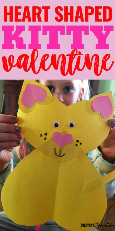 heart shaped cat valentine made from yellow paper hearts