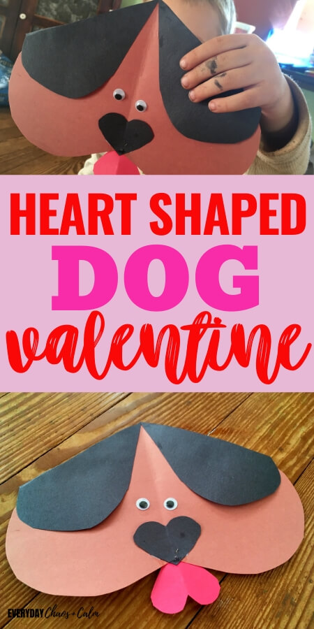heart shaped dog valentine with brown paper heart dog with red heart tongue and black heart nose and ears