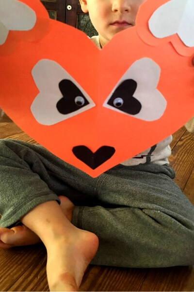 orange paper heart fox with white and black paper heart nose and eyes