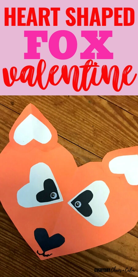 heart shaped fox valentine craft text with an orange heart shaped paper fox