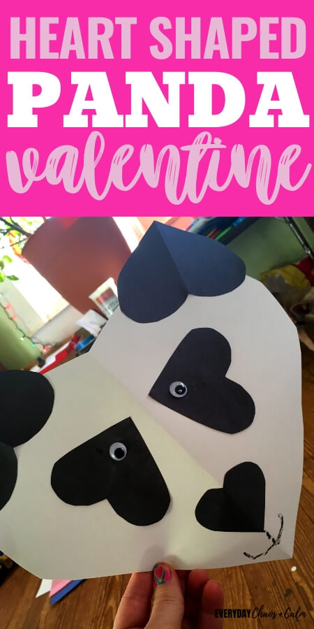 heart shaped panda valentine text with a black and white panda made from paper hearts