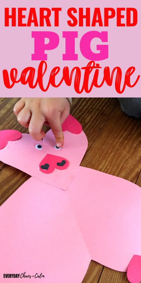 heart shaped pig valentine with pink paper heart pig