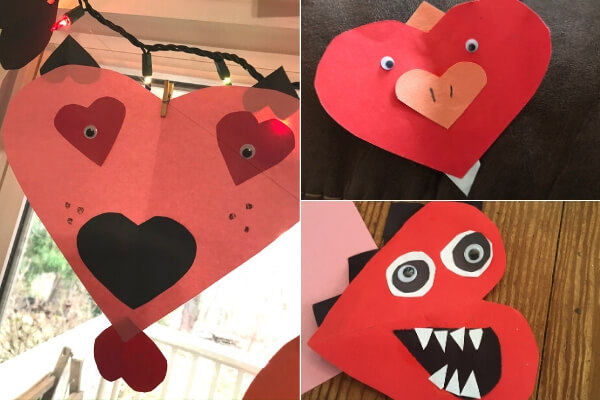 3 paper heart-shaped animals created by a child's imagination- a bird, dog, and dinosaur