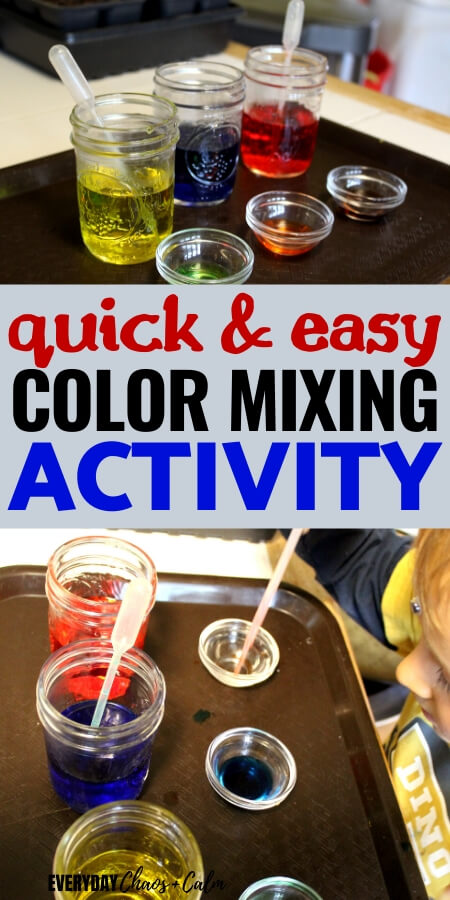 quick and easy color mixing activity