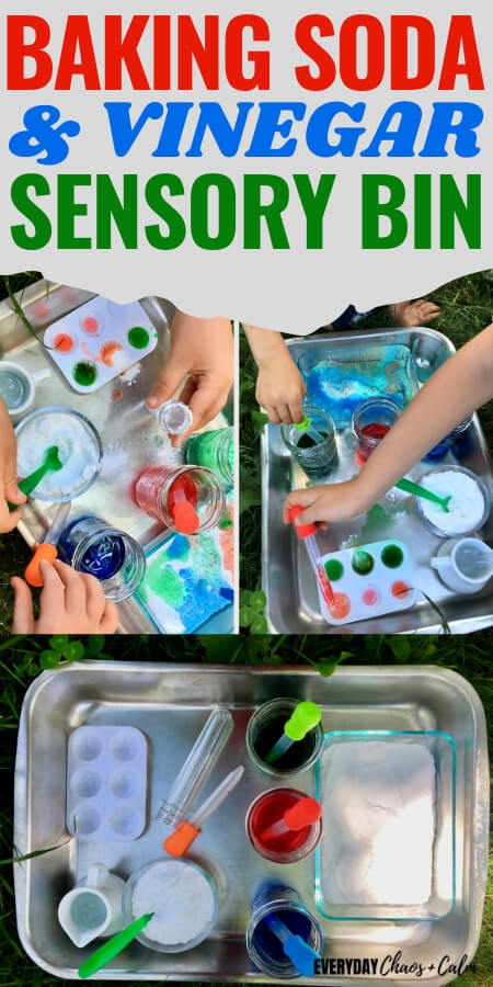 Baking Soda and Vinegar Sensory Bin with images of baking soda and colored vinegar