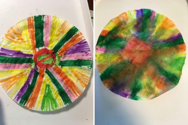 coffee filter colored with markers before and after being sprayed with water