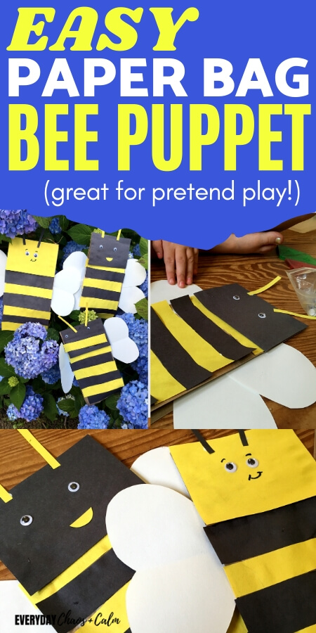 easy paper bag bee puppet