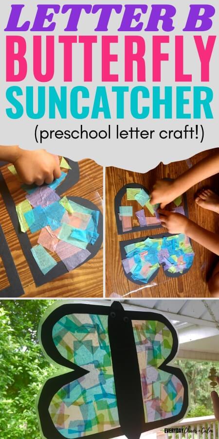 letter b butterfly suncatcher