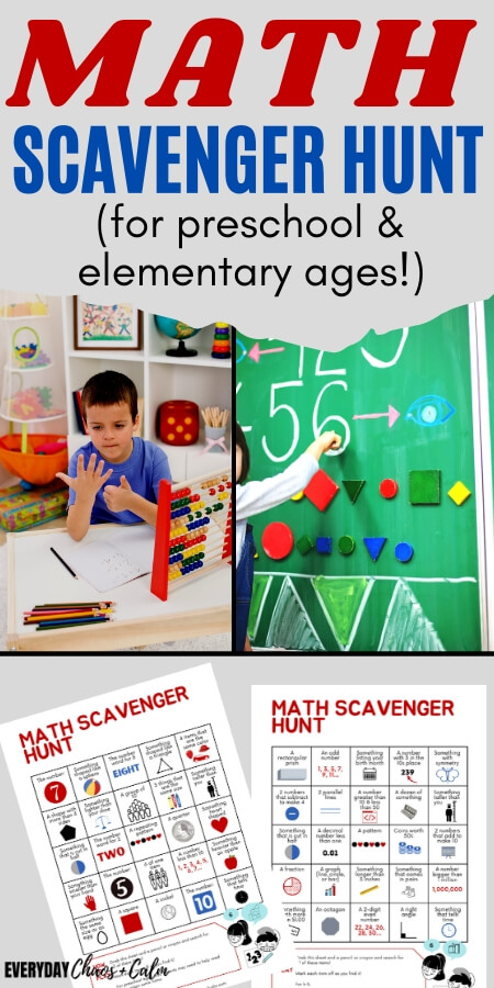 math scavenger hunt for preschool and elementary ages