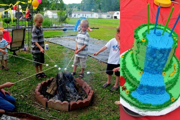 kids roasting marshmallows over fire and a waterfall camping themed cake