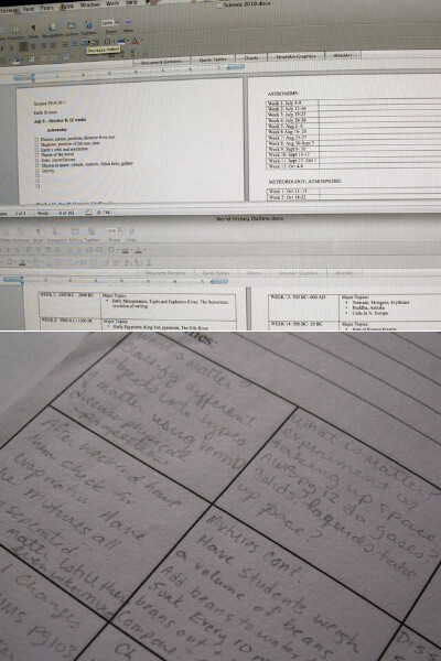 homeschool unit study planning pages on a computer and paper