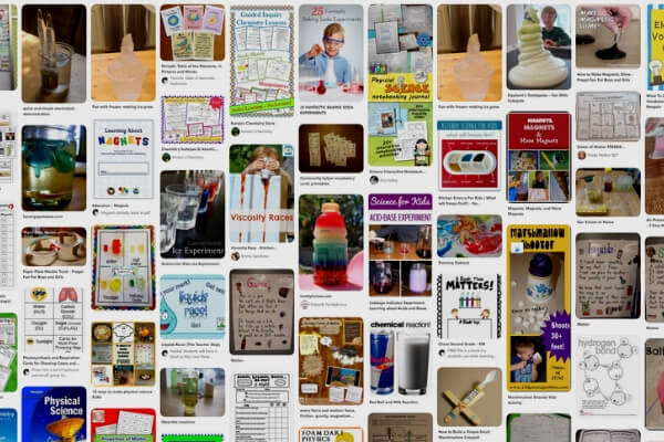 a pin board of science activities for homeschoolers
