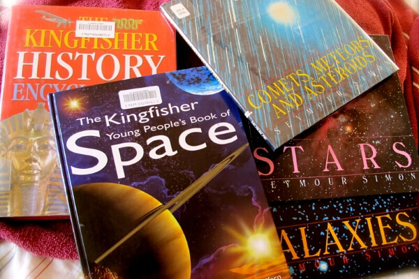 collection of books on space