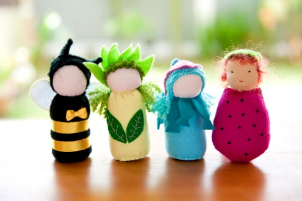 set of 4 homemade waldorf dolls for kids
