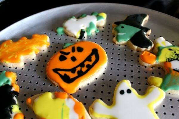 Halloween decorated homemade sugar cookies